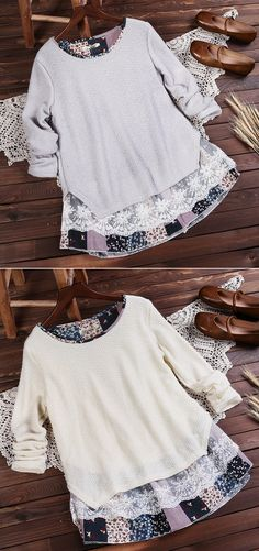 55% OFF! US$28.99 Elegant Floral Lace Stitching Round Neck Knit Blouse For Women. SHOP NOW!