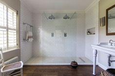 White Tiled Walk In Double Shower