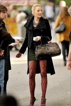 Alice + Olivia Keyhole Shoulder Pad Dress / Twenty8Twelve Truman Coat / Hue Zigzag Openwork Tights / Kotur Wallace Gold Leaf Haircalf Frame Bag /Manolo Blahnik Reata pumps