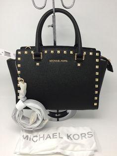 1208b33d32a2 MICHAEL Michael Kors Selma Studded Medium Top Zip Satchel Black/Gold $328