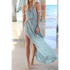 Bohemian Halter Neck Sleeveless Hollow Out High Furcal Women's Dress, LIGHT BLUE, S in Maxi Dresses | DressLily.com