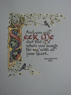 Rlj Gallery Sample Seek Me Example Only - Rlj Gallery Sample Seek Me Example Only Please Use The Links In The Item Description To Purchase A Print Rlj Gallery Sample Floral Border Example Only Please Use T Medieval Manuscript, Medieval Art, Illuminated Letters, Illuminated Manuscript, Creative Lettering, Hand Lettering, Illumination Art, Calligraphy Letters, Islamic Calligraphy