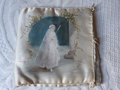 Antique French hand painted satin lingerie bag signed painting girl first holy communion bag souvenir pocket French boudoir trousseau vanity by MyFrenchAntiqueShop on Etsy
