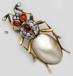 Victorian Abalone pearl, ruby, diamond and gold beetle brooch. French.