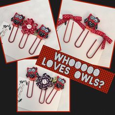 Who Loves Owls, Patriotic Owls, Flowers and Ribbon  Paper Clips by DaisyGreyPretties on Etsy https://www.etsy.com/listing/475512525/who-loves-owls-patriotic-owls-flowers