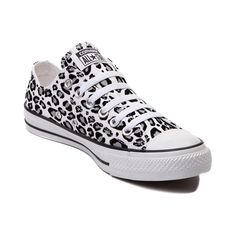 Show your wild side in a new pair of Converse All Star Lo Leopard Sneakers! A classic Chucks silhouette with a snow leopard print canvas upper, and signature Converse rubber sole. <b>Available only at Journeys and SHI!</b> <br><br><b>Please note that thi Leopard Sneakers, Converse Sneakers, Leopard Converse, White Converse, Converse High, Converse Chuck Taylor All Star, Converse All Star, Galaxy Converse, Cute Shoes
