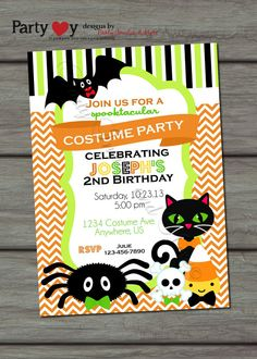 Halloween Costume Party Birthday Invitation Fall