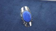 Blue Stone/ Alpaca Silver Ring/ Adjustable    beckinka - Jewelry on ArtFire