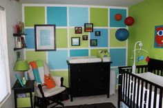 painted squares... if I can't find the right wallpaper for one wall (but smaller squares).