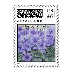 Floral Happy Birthday Postage Stamps