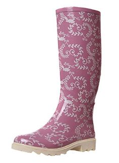 Fashionmore Womens Print Rain Boots US 55 Pink *** Visit the image link more details.
