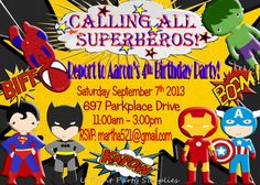 Superhero Party Invitation   Personalized  by U Print Party Supplies