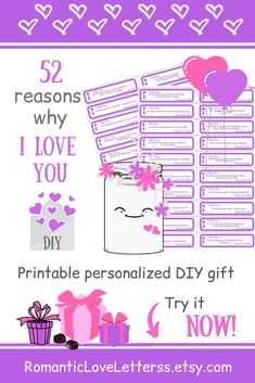 This PRINTABLE DIY kit of 100 Reasons Why I Love You is excellent PERSONALIZED romantic gift for him (paper anniversary gift for husband)! Please visit our website to buy it now!