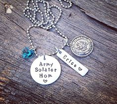 Army Soldier Mom Necklace   Army Mom Jewelry   Gift For An Army Soldier Mom   Boot Camp Graduation Gift For An Army Soldier Mom   USA Mom - Wedding nacklaces (*Amazon Partner-Link)