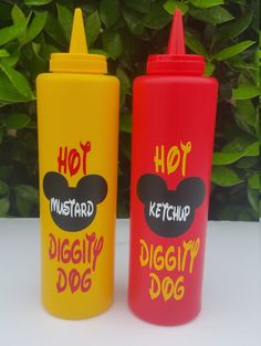 You will receive (2) Mickey Mouse Inspired Condiment Bottles as shown in the photo. These Mickey Mouse Condiment Bottles are perfect for your little ones birthday celebration and will add a extra special touch to your Hot Dog Table   Thank You for Visiting Hello Faith Boutique.  LEGAL DISCLAIMER: This item is not a licensed product. I do not claim ownership of any character or image used in my designs. Copyrights and/or trademarks of any character and/or image used belong to their respective…