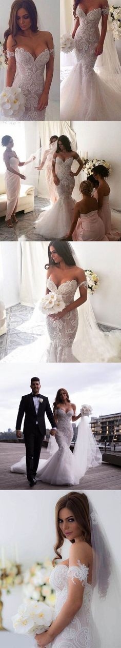 Off the Shoulder Mermaid Applique Charming Long Wedding Dress, BG51610