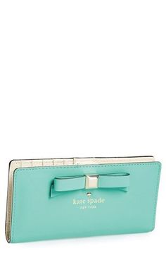 Turquoise kate spade new york 'holly street - stacy' wallet available at Kate Spade Wallet, Kate Spade Bag, Cute Wallets, Cute Purses, Cute Bags, Up Girl, Tiffany Blue, Girls Best Friend, Clutch Wallet