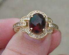 1.66 ct Natural Black Opal and Diamond Ring - 14K Yellow Gold $699