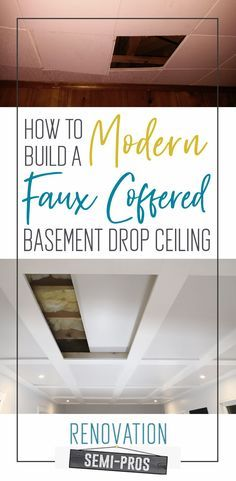 Want the functionality of drop ceilings in your basement, but want to maintain a higher end look? On a budget? Check out our DIY Faux Coffered Ceilings.with hidden access! Basement Office, Basement House, Basement Walls, Basement Flooring, Basement Bathroom, Bathroom Ideas, Basement Painting, Cozy Basement, Basement Layout
