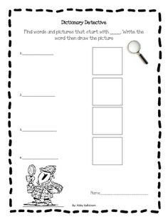 This sheet will help young learners use a beginner�s dictionary and practice their writing skills. At the top of the sheet fill in the lette...   # Pinterest++ for iPad #