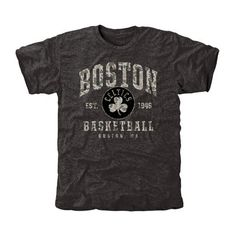 Men's Boston Celtics Black Camo Stack Tri-Blend T-Shirt