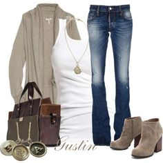 """tan cardigan"" by stacy-gustin on Polyvore"