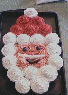 Santa Clause Cupcake Cake * Christmas Tree Cupcake Cake, Christmas Sweets, Christmas Cooking, Christmas Goodies, Holiday Baking, Christmas Desserts, Holiday Treats, Christmas Fun, Holiday Recipes