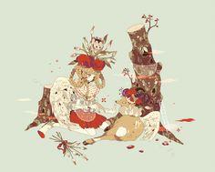 Shikimi, Tree Stump, Deer, Feeding