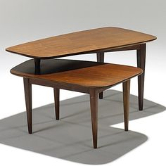 Bertha Schaeffer; Walnut Rotating Occasional Table for Singer & Sons, 1950s.