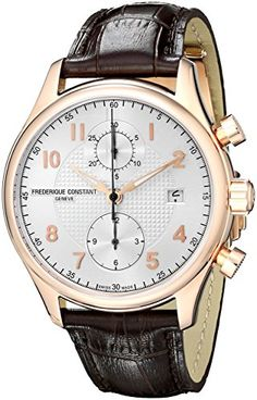Men's Wrist Watches - Frederique Constant Mens FC393RM5B4 Analog Swiss Automatic Brown Leather Watch -- Check out the image by visiting the link.