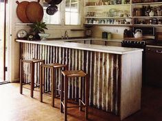 rustic salvaged timber kitchens islands washington | Corrugated Metal DIY - Island Surround