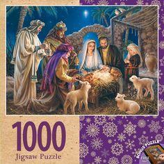 """Piece Count 1000 Pieces Artist Dona Gelsinger Puzzle Size 19.25"""" x 26.75"""" (49 x 68 cm) Age 13+ Theme Religious / Nativity Scene Manufacturer Masterpieces UPC 705988716737"""