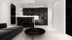 Black and white interior. Krakow