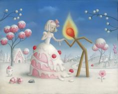 "supersonicart: "" Nicoletta Ceccoli's ""Relazioni Pericolose"" at Corey Helford Gallery. Opening on Saturday, November 2019 at Corey Helford Gallery in Los Angeles, California is artist Nicoletta. Arte Lowbrow, Art Manga, Arte Sketchbook, Arte Pop, Pop Surrealism, First Kiss, Whimsical Art, Funny Art, Surreal Art"