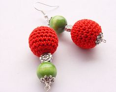 50% OFF Red Crochet Earrings Crochet Earrings Crochet Beads Earrings Handmade Earrings Cute Crochet Earrings Crochet Drop Earrings