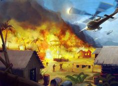 US helicopter attacking a North Vietnamese camp