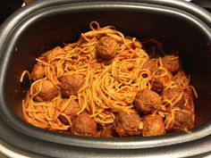 Spaghetti and turkey meatballs in my ninja cooking system. It makes way more but we already ate. 1 pound pasta, 3 cups water, 1 bag of meatballs, 1.5 jars of sauce put ninja      at 300 degrees for 30 minutes stir occasionally and YUM!