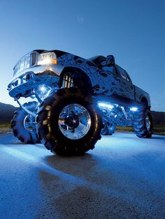Lifted douche bag truck with LED mods