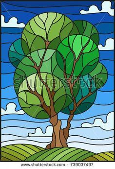 Illustration in stained glass style with tree on sky background Stained Glass Quilt, Faux Stained Glass, Stained Glass Patterns, Geometric Trees, Glass Painting Designs, Pine Tree Tattoo, Tree Sculpture, Art Graphique, Tree Art