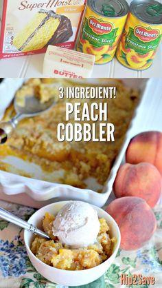 3 Ingredient Peach Cobbler Dessert Dump Cake (It's Bowl Lickin' Good!) – 3 Ingredient Peach Cobbler Dessert Dump Cake (It's Bowl Lickin' Good!) – This Prepare a delicious and EASY Peach Cobbler. Cake Mix Peach Cobbler, Peach Cake, Simple Peach Cobbler, Homemade Peach Cobbler, Peach Cobbler Recipe With Canned Peaches And Yellow Cake Mix, Peach Dump Cakes, Crock Pot Peach Cobbler, Georgia Peach Cobbler Recipe, Dessert Simple