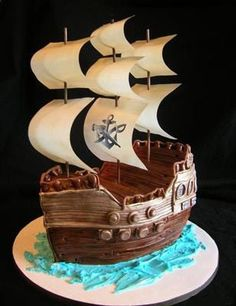 My inspiration for a pirate ship cake. Wonder if i can pull off a simple version of this?