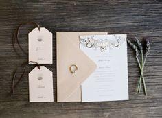 Delicate invitation and escort cards