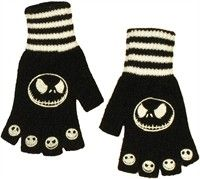 Nightmare Before Christmas Jack Striped Fingerless Gloves. Nightmare Before Christmas Jack Gloves This is an officially licensed Nightmare Before Christmas Glove Set in which these Nightmare Before Christmas Gloves have been decorated with official Nightmare Before Christmas images. Check back often for some of our new Nightmare Before Christmas clothing and other Nightmare Before Christmas merchandise at great prices only at - www. StylinOnline.com.. Price: $15.99
