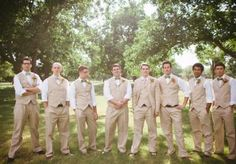 How GQ do these groomsmen look in their khaki suits? We love this look! Photo by Jess Barfield Photography