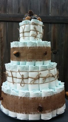 Diaper cake, woodland animal baby shower, rustic, burlap, acorns
