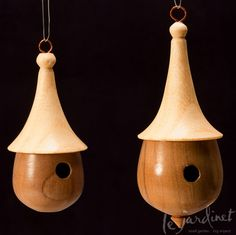 Hand-turned Wooden Birdhouse Holiday Ornament