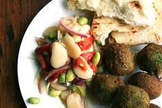 falafel, with lima bean salad (There is a link to more info on making the falafel). I lonnnng to eat this.