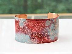 "Amazon.com: Floral Cuff Bangle Bracelet Etched Copper Handmade - fuschia & aqua, 1.5"" wide: $35.00 (SOLD!)"