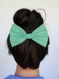 Hair Bow Clip - Mint