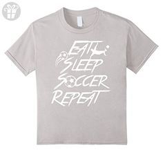 Kids Eat Sleep Soccer Repeat Athlete T-Shirt 12 Silver (*Amazon Partner-Link)